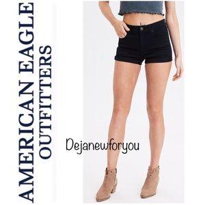 American Eagle Black Super Hi-Rise Shortie Shorts